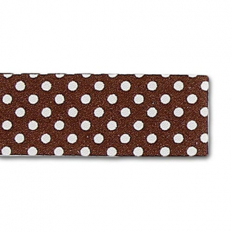Single Fold Bias Dots White on Brown 20mm (by meter)
