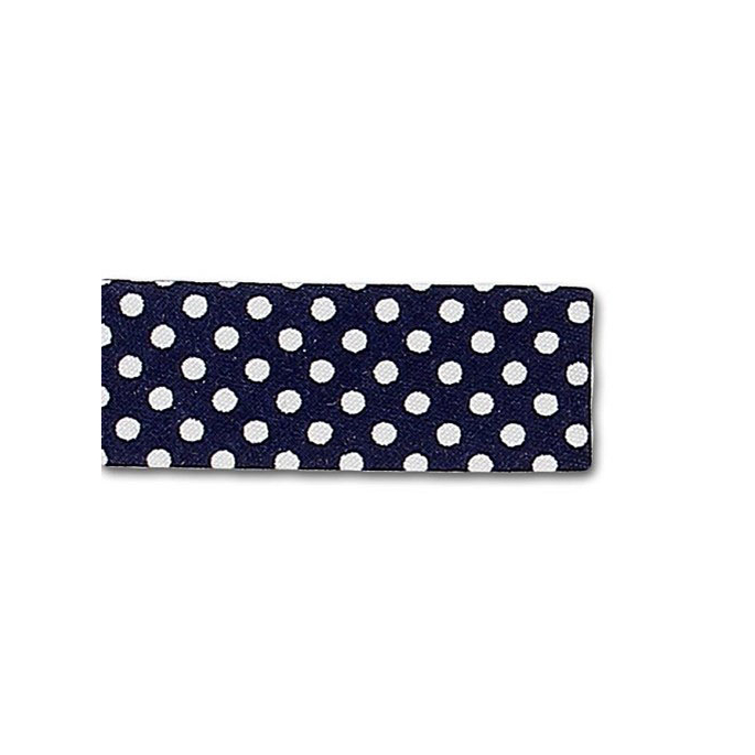 Single Fold Bias Dots White on Navy Blue 20mm (by meter)