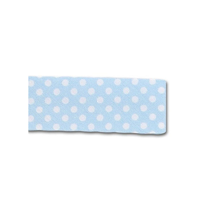 Single Fold Bias Dots White on Blue 20mm (25m roll)