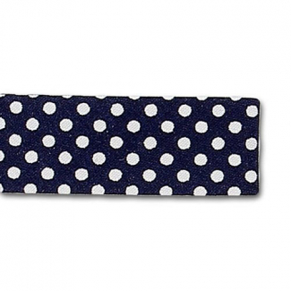 Single Fold Bias Dots White on Navy Blue 20mm (25m roll)