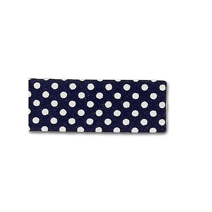 Single Fold Bias Dots White on Navy Blue 20mm (25m roll)