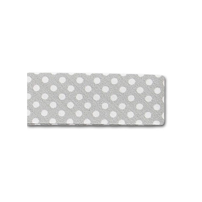 Single Fold Bias Dots White on Grey 20mm (25m roll)