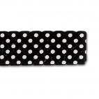 Single Fold Bias Dots White on Black 20mm (25m roll)