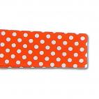 Single Fold Bias Dots White on Orange 20mm (25m roll)