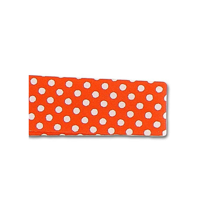 Single Fold Bias Dots White on Orange 20mm (25m roll)