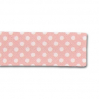 Single Fold Bias Dots White on Pink 20mm (25m roll)