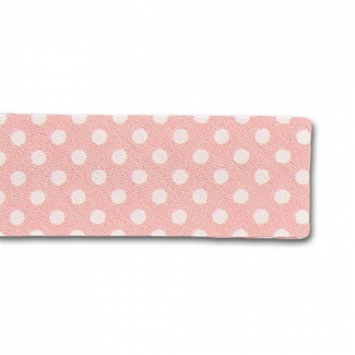 Single Fold Bias Dots White on Pink 20mm (25m roll)