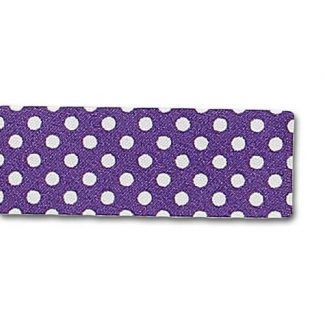 Single Fold Bias Dots White on Purple 20mm (25m roll)