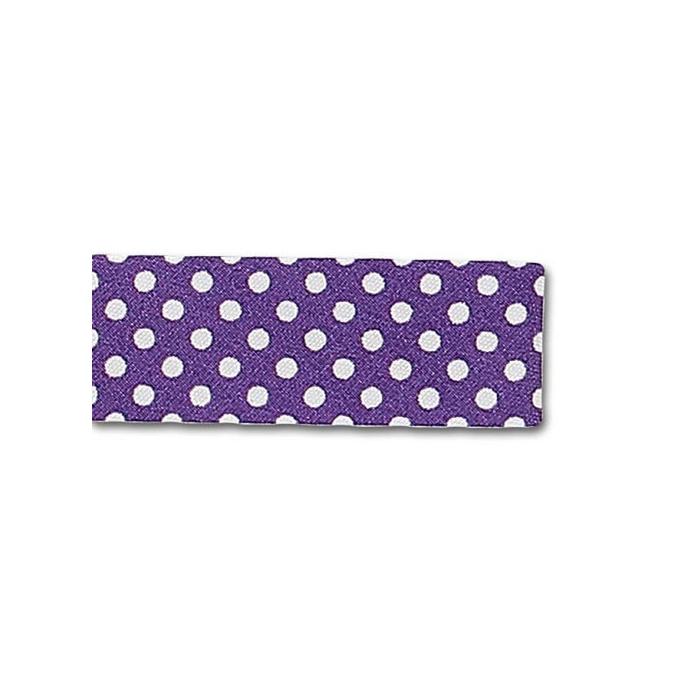 Single Fold Bias Dots White on Purple 20mm (25m roll)
