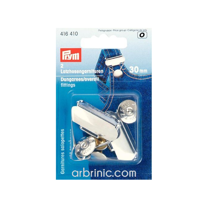 Overall Dungarees fittings PRYM 30mm Silver (x2)