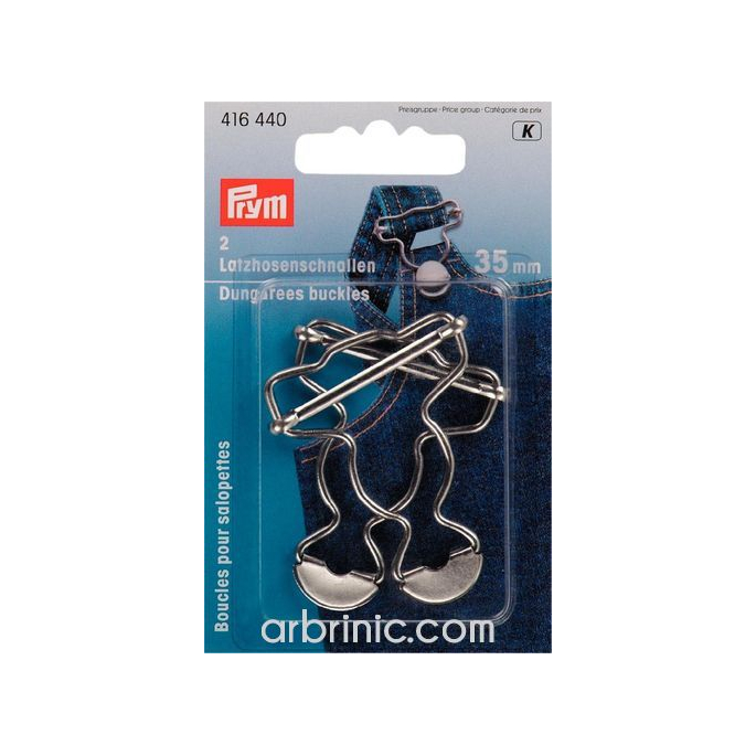 Overall Dungarees fittings PRYM 35mm Silver (x2)