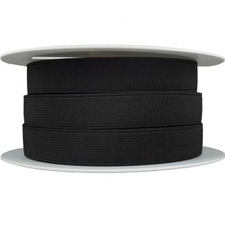 Elastique Côtelé 20mm Noir (bobine 25m)