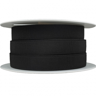 Ribbed Elastic Black 20mm (25m roll)