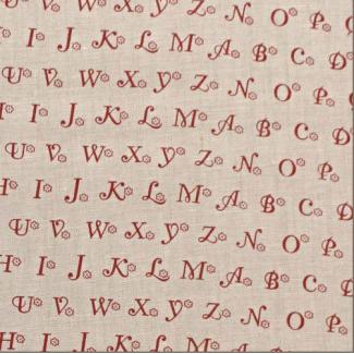 100% Linen print Rustic Red Letters (per 10cm)