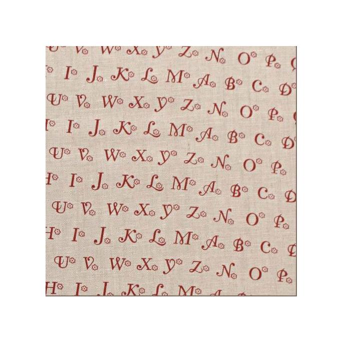 100% Lin imprimé Lettres Rouges Rustiques (par 10cm)