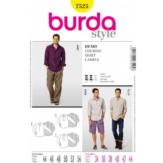 Burda Style 7525 Men Shirts Pattern