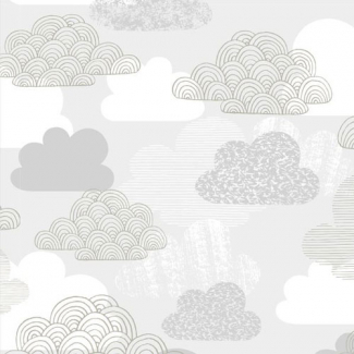 Laminated Organic Cotton Passing Clouds Cloud9(per 10cm)