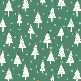 Organic cotton print Noel Snowy Trees Cloud9 (per 10c