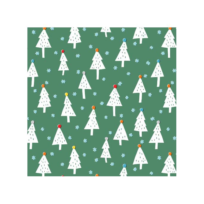 Organic cotton print Noel Snowy Trees Cloud9 (per 10c