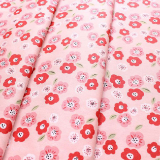 Organic cotton print Cottage Garden Pansies Monaluna (per 10cm)