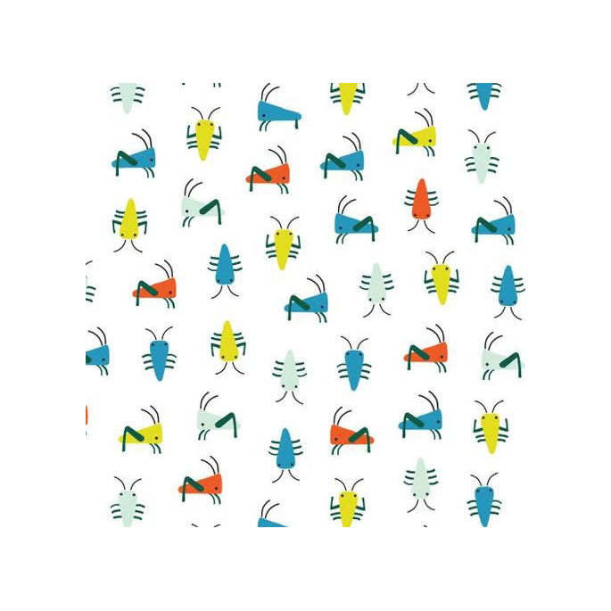 Organic cotton Interlock Sidewalk Bugs White Cloud9 (per 10cm)