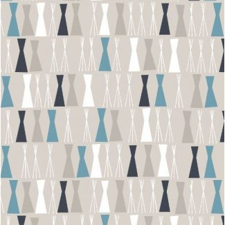 Coton Bio imprimé Sow & Sew Pea Sticks Blue/Gray Cloud9