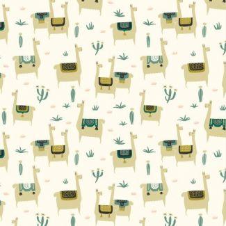 Coton Bio imprimé Faraway Places Llama Llife Ivory Cloud9
