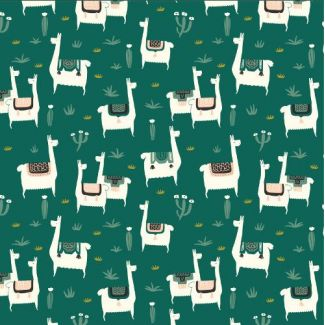 Organic cotton print Faraway Places Llama Llife Green Cloud9