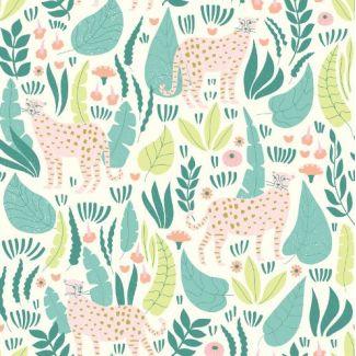 Organic cotton print Ethereal Jungle Jungle Cats Cloud9