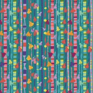 Organic cotton print Festival Tassles In Teal Monaluna