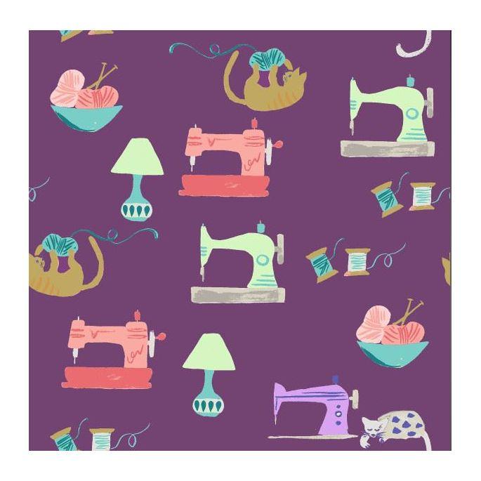 Organic cotton print Saturday Sewing Monaluna