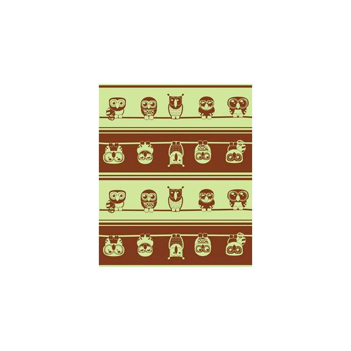 PUL poly imprimé Chouettes pistache laize 140cm (par 10cm)