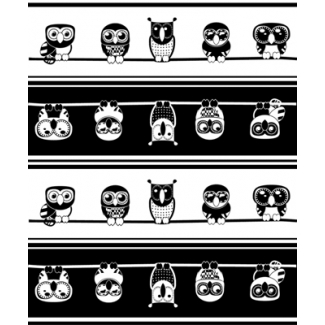 PUL poly print Owls black/white width 140cm (per 10cm)