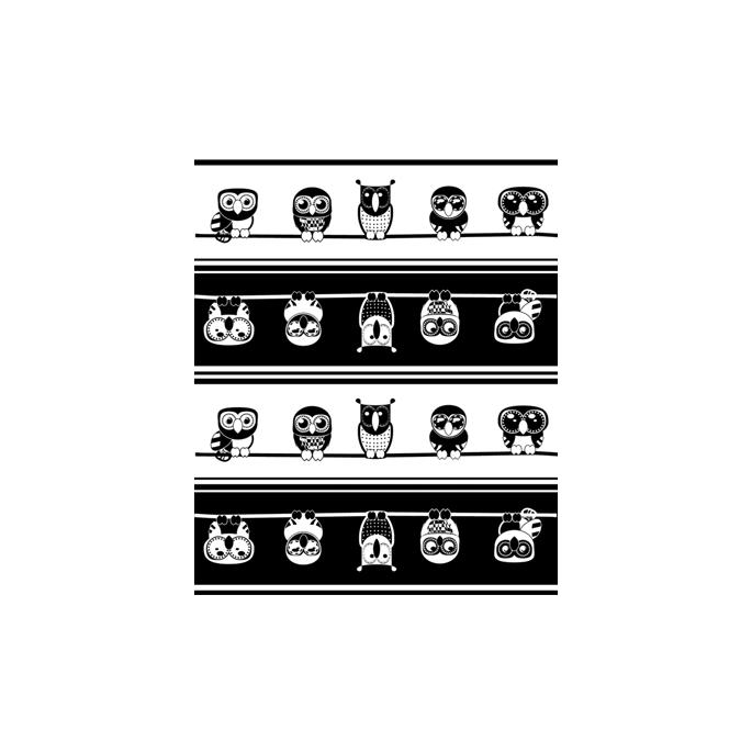 PUL poly imprimé Chouettes noir/blanc laize 140cm (par 10cm)