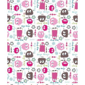 PUL poly print Ooga Booga Pink Brown 140cm (per 10cm)