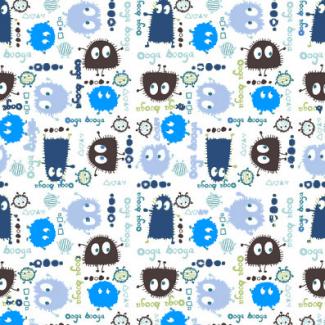 PUL poly imprimé Ooga Booga Bleu laize 140cm (10cm)
