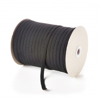 Braided Elastic Black 5mm (by meter) Made in France