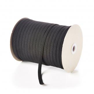 Elastique Tressé 7mm 10 gommes Noir (au mètre)