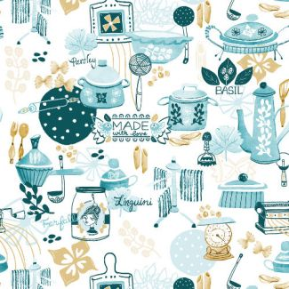 Organic cotton Popeline Emmas Kitchen Made With Love Pasta Haerae