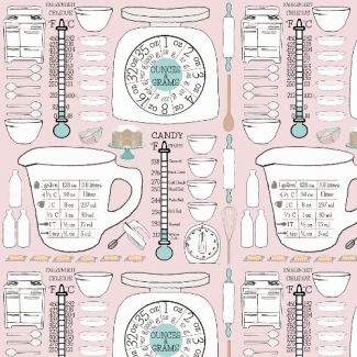 Organic cotton Popeline Emmas Kitchen Retro Kitchen Chart Haerae