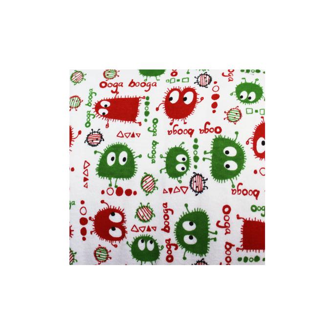 PUL poly imprimé Ooga Booga Rouge/vert laize 140cm (par 10cm)