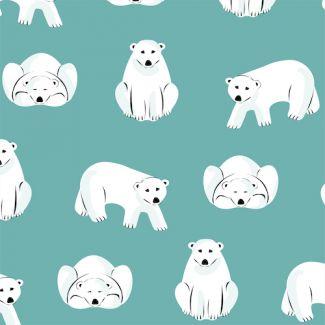 Flanelle coton bio Polar Bears Turquoise Cloud9