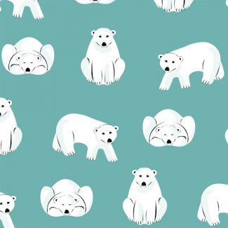 Organic cotton Flannel Polar Bears Turquoise Cloud9