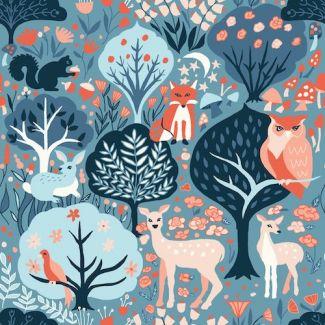 Organic cotton print Modern Love Twilit Forest Monaluna