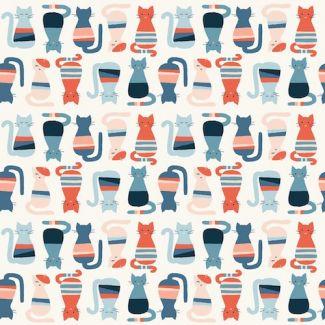 Organic cotton print Modern Love Cool Cats Monaluna