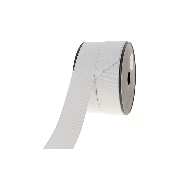 Ribbed Elastic White 40mm (by meter)