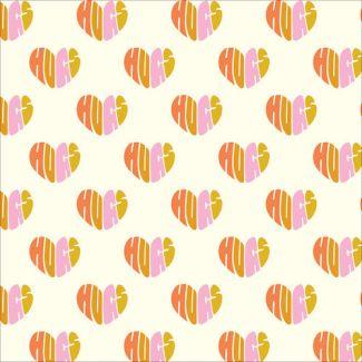 Popeline Coton Bio Universal Love Heart Hugs Cloud9