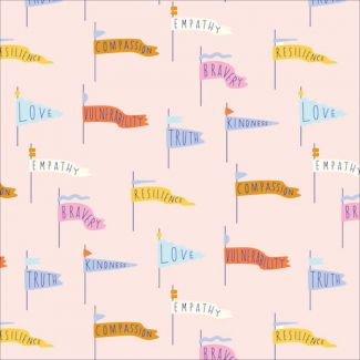 Popeline Coton Bio Universal Love Pennant Power Pink Cloud9