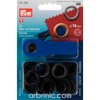 Eyelets 14mm Black with tool (x10)