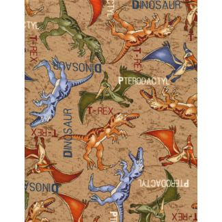 Cotton woven Dinos on tan Timeless Treasure (per 10cm)